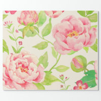 Watercolor classic pink peony cream Wrapping paper