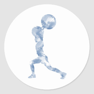 Watercolor Clean & Jerk in Blue Classic Round Sticker