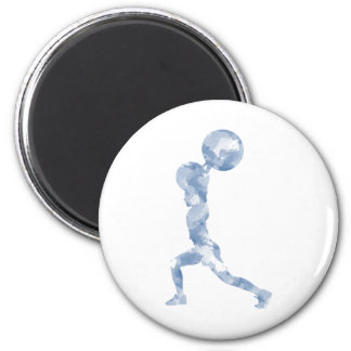 Watercolor Clean & Jerk in Blue 2 Inch Round Magnet