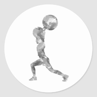 Watercolor Clean & Jerk in Grey Classic Round Sticker