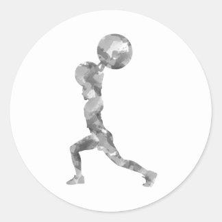 Watercolor Clean & Jerk in Grey Classic Round Sticker