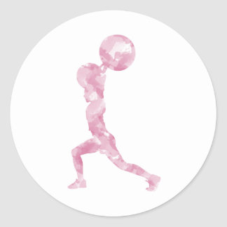 Watercolor Clean & Jerk in Pink Classic Round Sticker