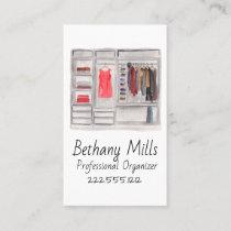 Watercolor Closet Organizer Business Card