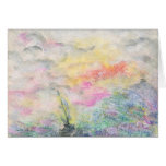 Watercolor Clouds and Boat Card