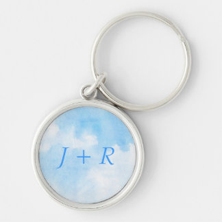 Watercolor clouds and sky background keychain