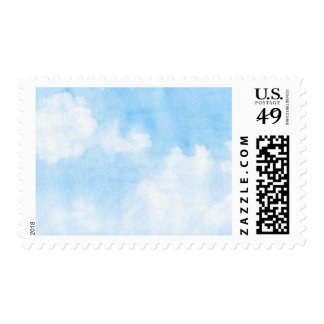 Watercolor clouds and sky background postage