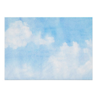 Watercolor clouds and sky background poster