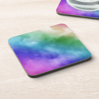 Watercolor Clouds in Rainbow Hues Coaster