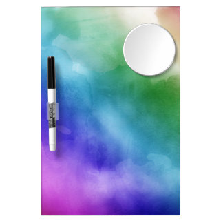 Watercolor Clouds in Rainbow Hues Dry Erase Board With Mirror