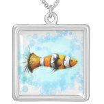 Watercolor Clownfish Square Necklace