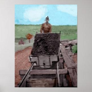 Watercolor Coal Miner Poster
