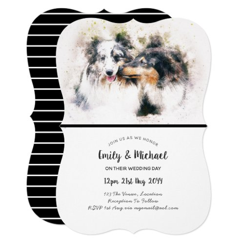 Watercolor Collie Dogs Wedding Invitations Elegant