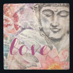 "Watercolor Colorful Buddha Be Love Stone Coaster<br><div class=""desc"">Beautiful original art design features &quot;Bliss Buddha&quot;&#169; watercolor on textured masa paper,  by Kari Anapol,  BloomingLotusStudio.com</div>"