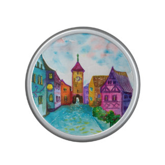 Watercolor colorful european town illustration bluetooth speaker
