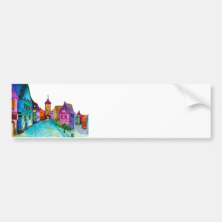 Watercolor colorful european town illustration bumper sticker
