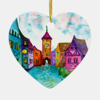 Watercolor colorful european town illustration ceramic ornament