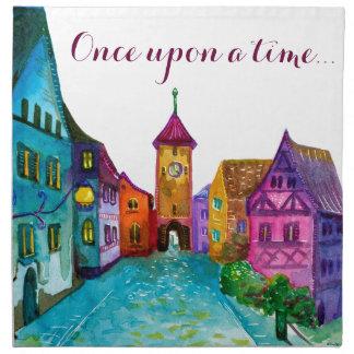 Watercolor colorful european town illustration napkin