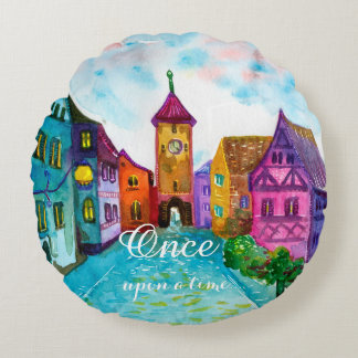 Watercolor colorful european town illustration round pillow