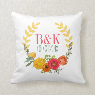 Watercolor Colorful Floral Wreath Throw Pillow