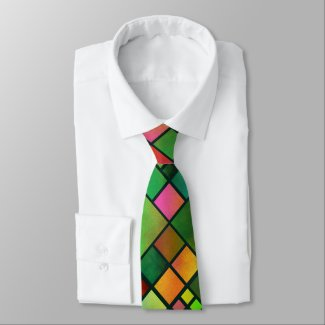 Watercolor Colorful Mosaic Checkered Tie