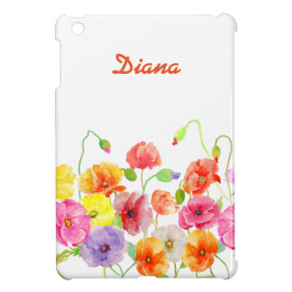 Watercolor Colorful Poppies flowers iPad Mini Case