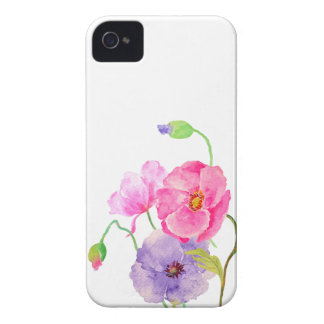 Watercolor Colorful Poppies flowers iPhone 4 Case