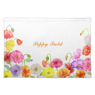 Watercolor Colorful Poppies flowers Placemats