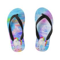 Watercolor,,Colorful,Rainbow Unicorn Kid's Flip Flops