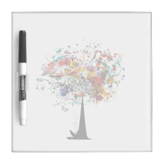 Watercolor colorful tree n butterfly.png dry erase board