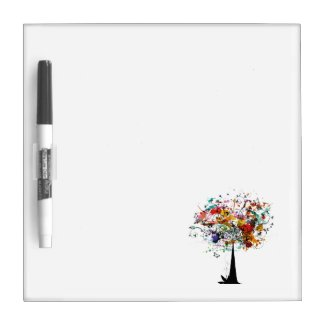 Watercolor colorful tree n butterfly.png dry erase boards