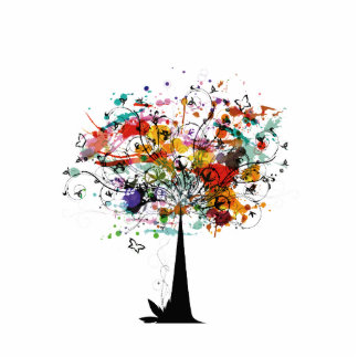 Watercolor colorful tree n butterfly.png photo cutout