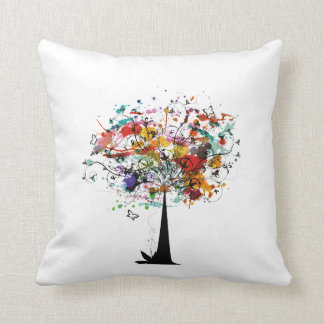 Watercolor colorful tree n butterfly.png throw pillow