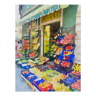 Watercolor Colorful Vegetable Shop Poster