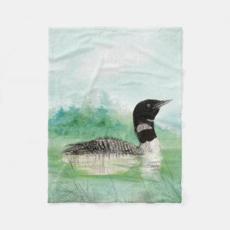 Watercolor Common Loon Bird Nature Art Fleece Blanket