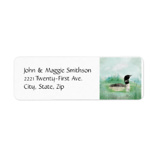 Watercolor Common Loon Bird Nature Art Label