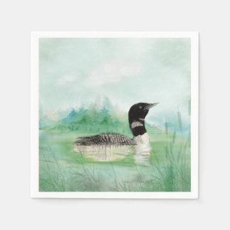 Watercolor Common Loon Bird Nature Art Paper Napkin