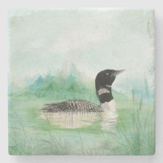 Watercolor Common Loon Bird Nature Art Stone Coaster