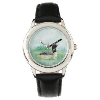 Watercolor Common Loon Bird Nature Art Wrist Watch