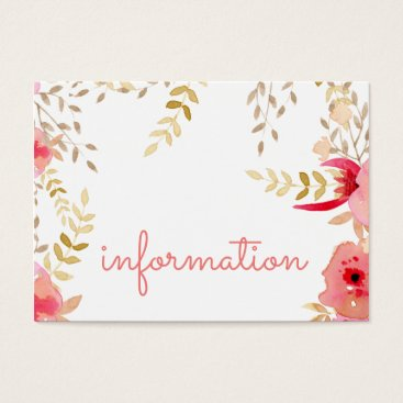 Watercolor Coral flowers Wedding information cards