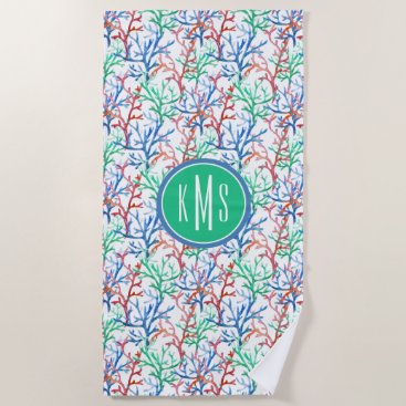 Beach Themed Watercolor Coral Pattern Beach Towel