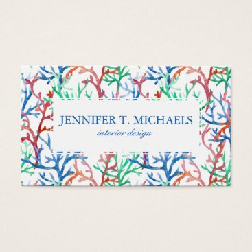 Beach Themed Watercolor Coral Pattern Business Card