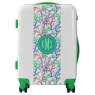 Beach Themed Watercolor Coral Pattern | Monogram Luggage