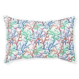 Watercolor Coral Pattern Pet Bed
