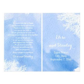 Watercolor coral reef aquamarine wedding program