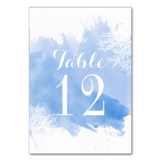 Watercolor coral reef blue wedding table number