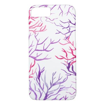 Beach Themed Watercolor Coral Reef Branches Purple Pink iPhone 7 Case