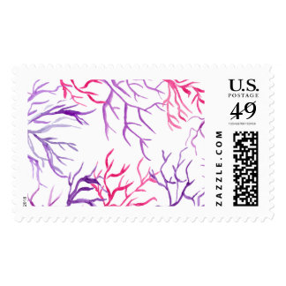 Watercolor Coral Reef Branches Purple Pink Postage