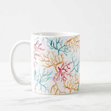 Beach Themed Watercolor Coral Reef Branches Teal Orange Red Coffee Mug