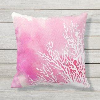 Watercolor coral reef pink modern beach summer outdoor pillow