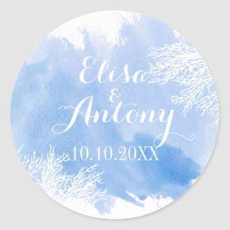 Watercolor coral reef wedding blue Save the Date Classic Round Sticker